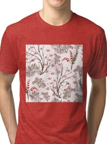 Endless floral background. apples berries branch seamless ornament Tri-blend T-Shirt