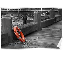 Life Buoy on the Boardwalk Poster