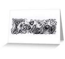 I Love You Aussie Tangle Black & White  Greeting Card