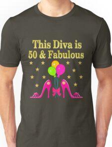 50 AND FABULOUS PINK HIGH HEELS Unisex T-Shirt