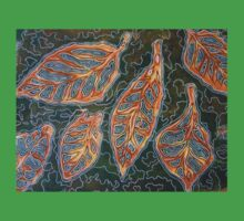 Leaves 02 Mixed Media - Ink on Acrylic Monoprint Kids Tee