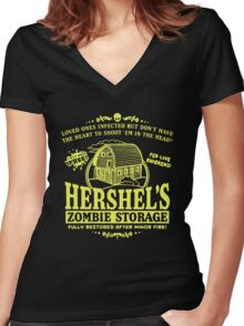 Hershel's Zombie Storage Women's Fitted V-Neck T-Shirt