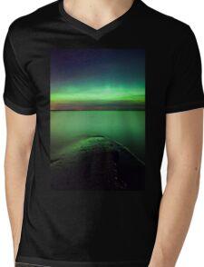 Northern lights glow over lake Mens V-Neck T-Shirt