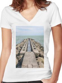 sea and beach Women's Fitted V-Neck T-Shirt