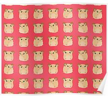 Kawaii Hamster - On Red Background Poster