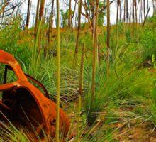 Rusty wreck in the bush Sticker
