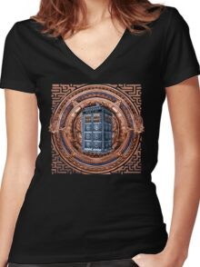 Aztec Time Travel Box full color Pencils sketch Art Women's Fitted V-Neck T-Shirt