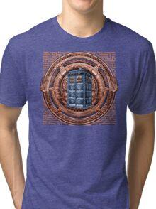 Aztec Time Travel Box full color Pencils sketch Art Tri-blend T-Shirt