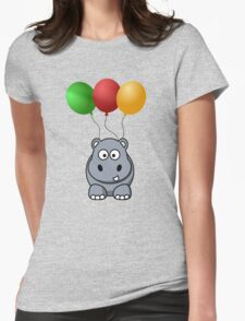 Funny cute hippo hanging on balloons T-Shirt