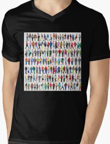 Walking People Mens V-Neck T-Shirt