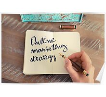 Motivational concept with handwritten text ONLINE MARKETING STRATEGY Poster