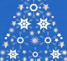 Christmas Tree Made Of Snowflakes On Blue Background Sticker