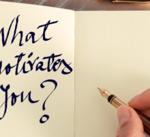 Motivational concept with handwritten text WHAT MOTIVATES YOU Sticker