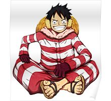 luffy red white Poster