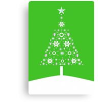 Christmas Tree Made Of Snowflakes On Green Background Canvas Print
