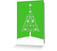 Christmas Tree Made Of Snowflakes On Green Background Greeting Card