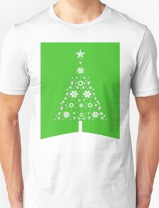 Christmas Tree Made Of Snowflakes On Green Background T-Shirt