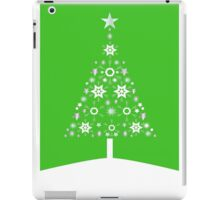 Christmas Tree Made Of Snowflakes On Green Background iPad Case/Skin