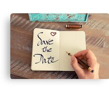 Motivational concept with handwritten text SAVE THE DATE Canvas Print