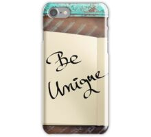 Motivational concept with handwritten text BE UNIQUE iPhone Case/Skin