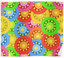 Painted Abstract Flower Seamless Pattern Poster