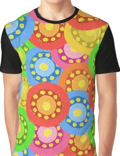 Painted Abstract Flower Seamless Pattern Graphic T-Shirt