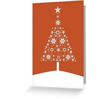 Christmas Tree Made Of Snowflakes On Orange Background Greeting Card
