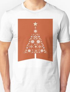 Christmas Tree Made Of Snowflakes On Orange Background T-Shirt