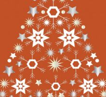 Christmas Tree Made Of Snowflakes On Orange Background Sticker