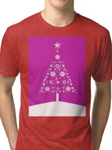 Christmas Tree Made Of Snowflakes On Pink Background Tri-blend T-Shirt