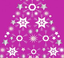 Christmas Tree Made Of Snowflakes On Pink Background Sticker