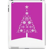 Christmas Tree Made Of Snowflakes On Pink Background iPad Case/Skin