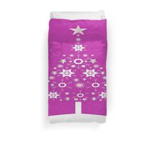 Christmas Tree Made Of Snowflakes On Pink Background Duvet Cover