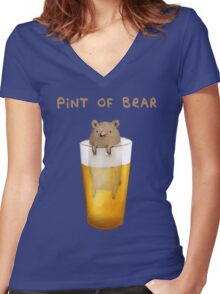 Pint of Bear Women's Fitted V-Neck T-Shirt