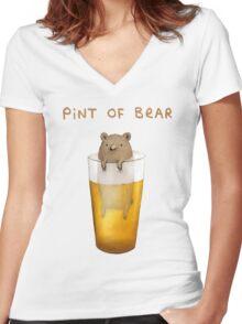 Pint of Bear Women's Fitted V-Neck T-Shirt