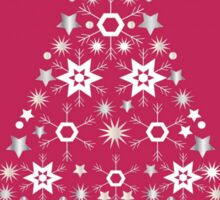 Christmas Tree Made Of Snowflakes On Red Background Sticker