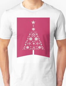 Christmas Tree Made Of Snowflakes On Red Background T-Shirt