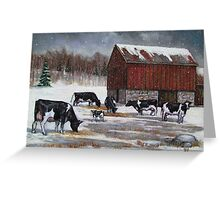 Cows in Snowy Barnyard No. 2, Oil Pastel Painting Greeting Card