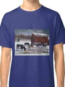 Cows in Snowy Barnyard No. 2, Oil Pastel Painting Classic T-Shirt