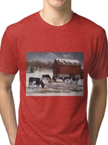 Cows in Snowy Barnyard No. 2, Oil Pastel Painting Tri-blend T-Shirt