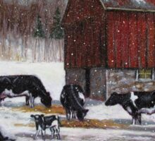 Cows in Snowy Barnyard No. 2, Oil Pastel Painting Sticker