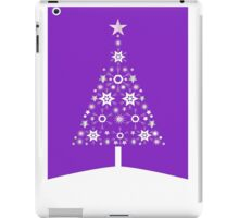 Christmas Tree Made Of Snowflakes On Violet Background iPad Case/Skin