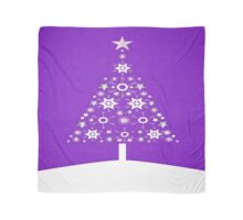 Christmas Tree Made Of Snowflakes On Violet Background Scarf