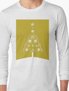 Christmas Tree Made Of Snowflakes On Gold Background T-Shirt