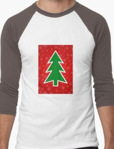 Christmas Tree on Red Background With Snowflakes T-Shirt