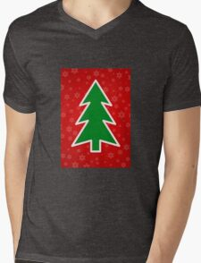 Christmas Tree on Red Background With Snowflakes Mens V-Neck T-Shirt