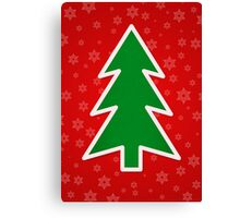 Christmas Tree on Red Background With Snowflakes Canvas Print