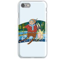 Boy Hare Skis Winter Forest iPhone Case/Skin