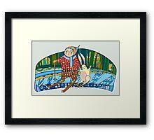 Boy Hare Skis Winter Forest Framed Print