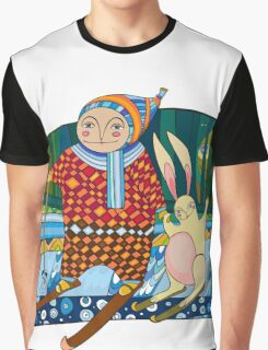 Boy Hare Skis Winter Forest Graphic T-Shirt